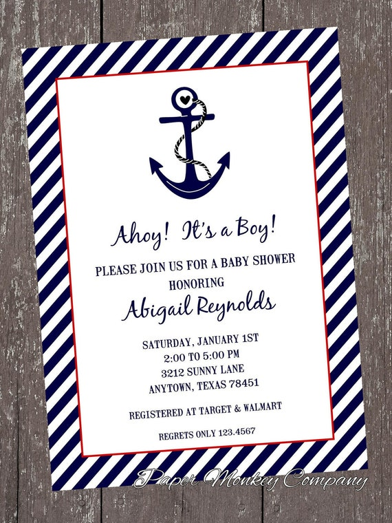 nautical baby shower invitations each with by pmcinvitations