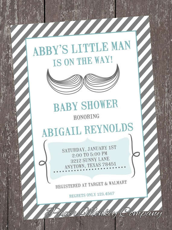 Custom printed mustache bash baby shower invitations 100 each il570xn filmwisefo