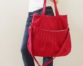 New Year SALE - 40% OFF Kangaroo Max in Red / Shoulder Bag / Tote / Diapers Bag / Purses / Handbags / Laptop / School Bag / Women / For Her