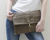 New Year SALE - 20% OFF WITT Waxed Canvas in Brown / Clutch Bag / Wristlet / iPad Sleeve / Tablet case / Women / Men / Gift Ideas