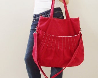 Canvas Shoulder Bag in Red, Tote bag, Crossbody Bag, Diapers bag, Everyday Purse, Handbags, Gift Ideas for Women - KANGAROO MAX - 40% OFF