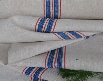 handloomed antique fabric french lin 3.71yards by 19.68wide holiday red blue upholstery fabric curtain wedding decor