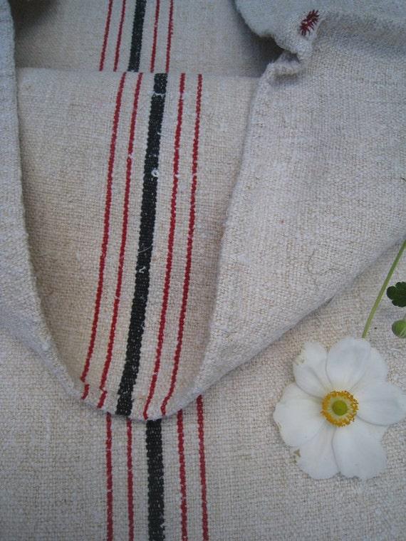 antique grain sack cushion tablerunner upholstery RED BLACK wedding decor