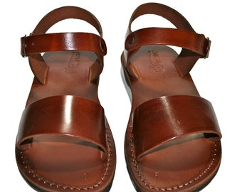 Brown Desert Leather Sandals For Men & Women - Handmade Sandals, Jesus Sandals, Leather Flip Flops, Unisex Sandals, Brown Leather Sandals