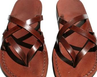 Brown Mixin Leather Sandals For Men & Women - Handmade Unisex Sandals, Flip Flop Sandals, Jesus Sandals, Genuine Leather Sandals
