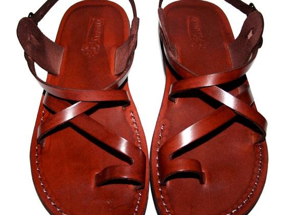 Brown Roxy Leather Sandals for Men & Women - Handmade Sandals, Leather Flip Flops, Jesus Sandals, Unisex Sandals, Brown Sandals