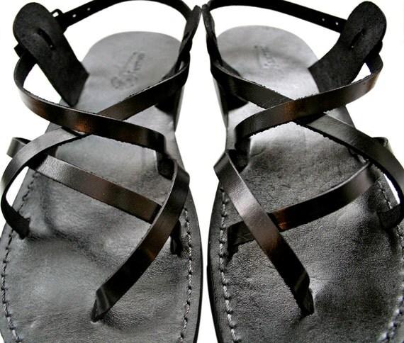 Black Triple Leather Sandals for Men & Women - Handmade Unisex Sandals, Black Flip Flop Sandals, Jesus Sandals, Genuine Leather Sandals