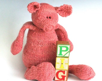 P is for Pig - PDF Knitting Pattern for a Stuffed Toy Piggy