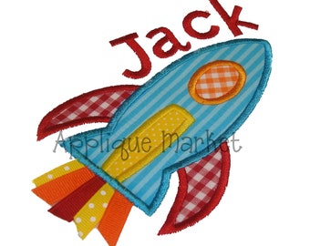 Machine Embroidery Design Applique Rocket INSTANT DOWNLOAD