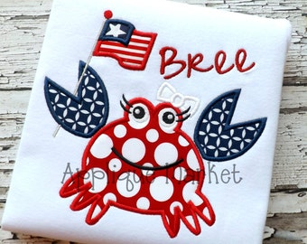 Machine Embroidery Design Applique Crab Flag Girl INSTANT DOWNLOAD