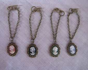 "Made to Order Antique Gold Fancy Cameo Necklace Doll Jewelry 4 Colors fits fits 1/6th Scale 11 1/2"" Fashion Dolls Petite Slimline"