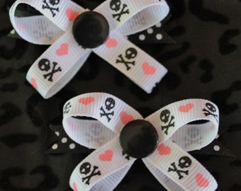 Skulls & Hearts Snap N Go Dog Hair Bows - Set of 2 or Custom Single