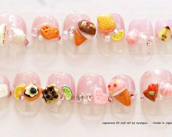 Japanese 3D nail, fairy kei, pastel fashion, Harajuku, fake sweets, deco nails, 3D nails, kawaii nail, short nail, fake food, miniature food
