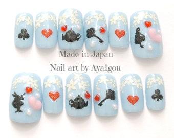 Nail, Alice in wonderland, sweet lolita, aqua blue, pastel blue, kawaii nail, 3D nail, deco nail, acrylic nail, cosplay, lolita accessory,
