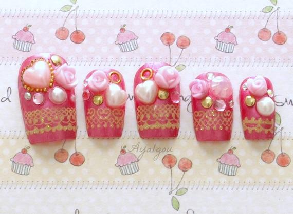 Hime gyaru, Japanese 3D nails, pink, decoden, rose and gems