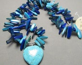 Puffy Heart Beaded Necklace in Teal, Aqua, and Cobalt Blue, Howelite and Shell, Harleypaws, SRAJD