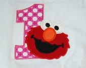 Girls Boys Boutique Birthday Applique Elmo Tshirt top shirt 1st First
