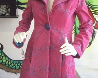 Sale! OOAK Flattering Fitted Coat - Bright Pink and Blue Custom Retro Princess Seam Jacket with Shawl Collar -x-Small (size 2-4)
