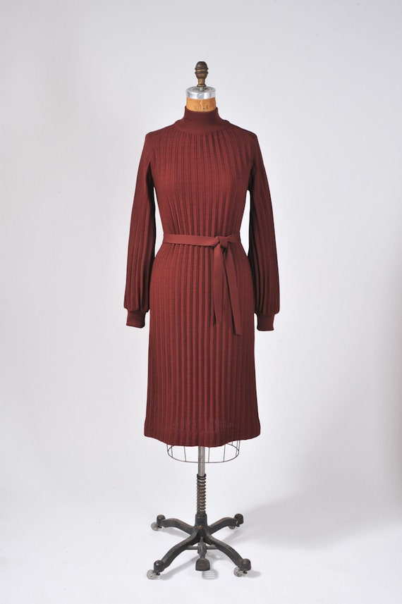 1960's Oxblood Ribbed Knit Dress - Autumn Sweater Dress