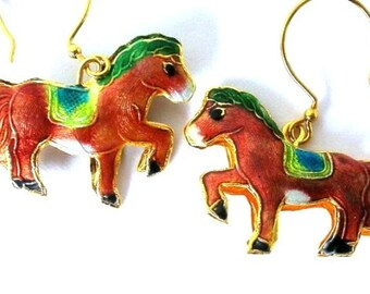 Brown pony horse cloissone earrings - That's a Horse of a Different Color