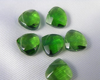 Green Glass Teardrop Crystal Beads, faceted, 12x11x5.5mm, Hole:Approx 1mm - 6 pcs