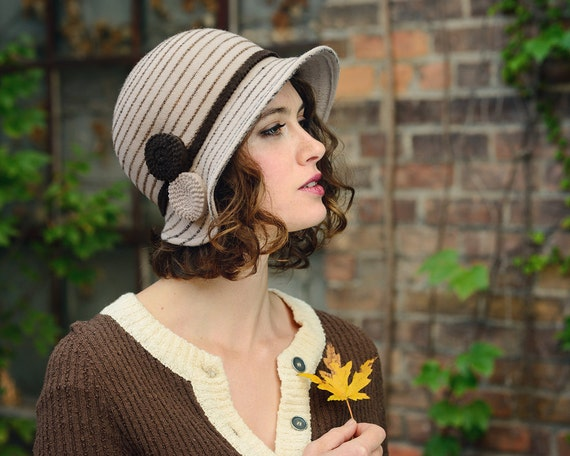 womens hat in tan and brown with stripes