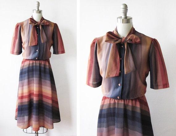 1970s dress / vintage chevron dress / autumn sunset semi sheer day dress