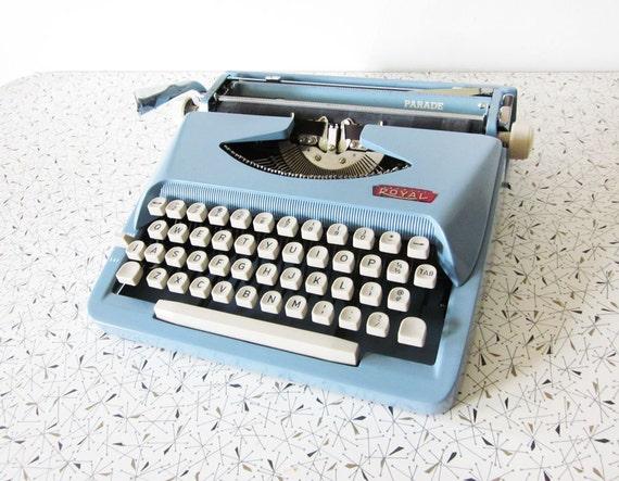 vintage Royal Parade typewriter / mid century baby blue manual portable typewriter with case