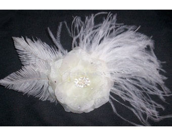 Ivory FLOWER Fascinator with Ostrich feathers ready to wear for the bridal headpiece .