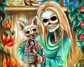 Day of the Dead, 'Mi Perrito' signed print by artist Heather Calderon