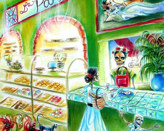 Day of the Dead, 'La Panaderia' signed print by artist Heather Calderon