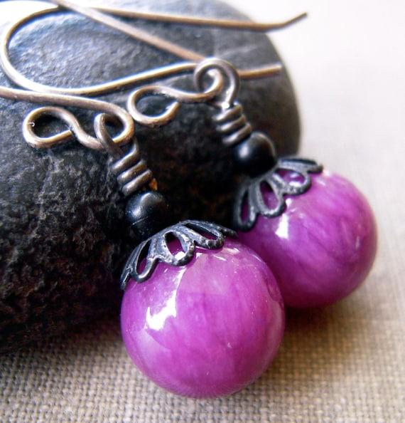 Purple Jade with Black Metal, Oxidized Sterling, Earrings, Dangle