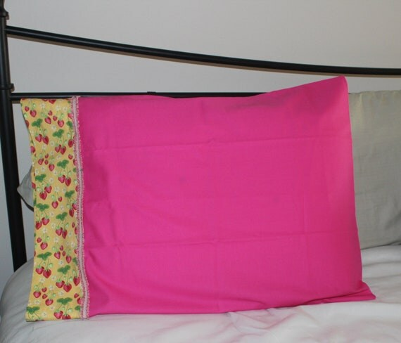 Items similar to Cotton Decorative Pillow case, standard size, Girl s, Hot pink, Yellow ...