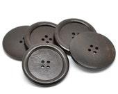 """Dark Brown big button - 3 wooden buttons 40mm (1 5/8"""")  (BB142C)"""