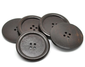 "Dark Brown big button - 3 wooden buttons 40mm (1 5/8"")  (BB142C)"