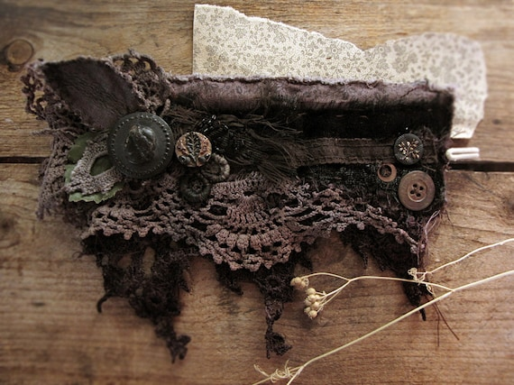 Custom order - antique textile wristcuff - vintage lace - antique buttons - hand dyed fabrics - Victorian rustic - final payment
