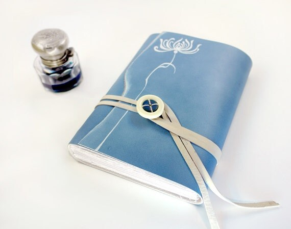 Light Blue Leather Journal / Diary / Notebook - White Flower