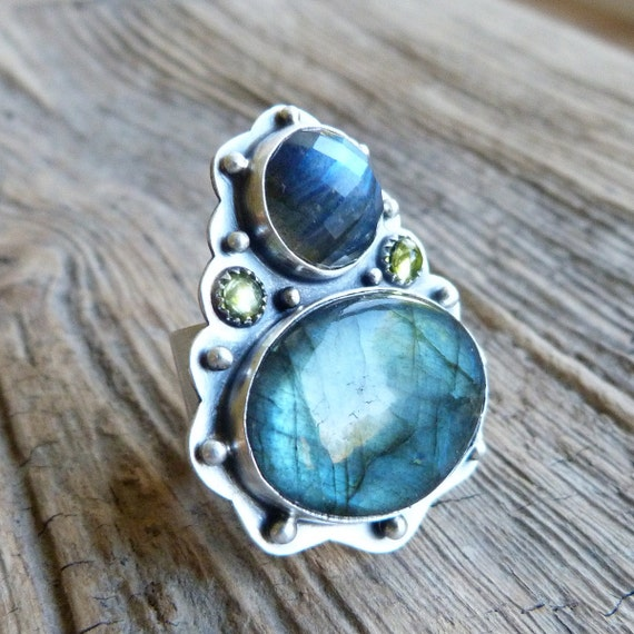 Labradorite and Peridot Ring in Oxidised Sterling Silver