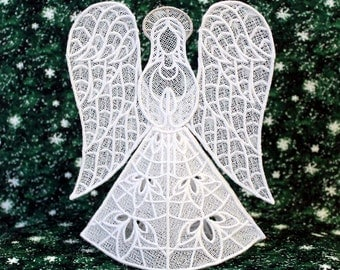 Heather Lace Angel Tree Topper With Silver Halo