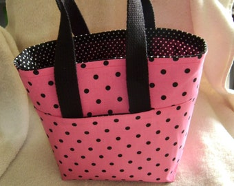 Pink and Black Polka Dot Tote Bag
