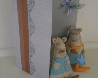 Custom Design, Wedding, Anniversary Mice, Wristlet, Gift, Bridal Accessory, Soft Sculpture, Softie Portrait