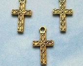 40 cross charms with woven braided texture lines, double sided, antique gold tone, 17mm
