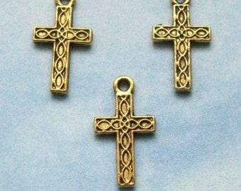 SALE, 20 cross charms with woven braided texture lines, double sided, antique gold tone, 17mm