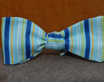 Multicolored Stripes on Blue  Bow Tie