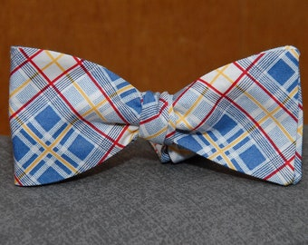 Blue, White, Red and Yellow Plaid  Bow Tie