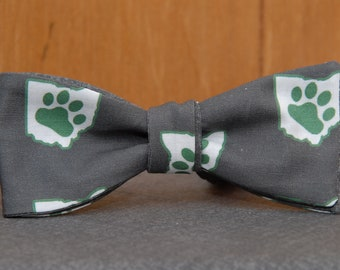Ohio Bobcat State and Paw on Charcoal  Bow Tie
