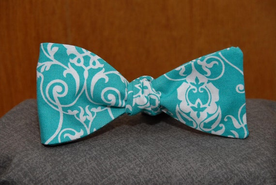 White Floral on Turquoise  Bow Tie