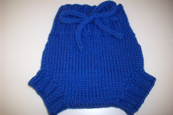 Wool Cloth Diaper Cover - Small Baby Handknit Blue Wool Soaker or Shorties with Knit Drawstring