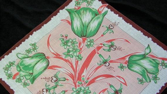 "Beautiful Vintage 11.5"" Pink, Green, Brown Tulip Floral Wedding Favor Handkerchief, 7758"