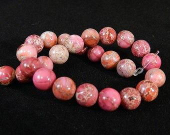 Pink Orange and Lt red 8mm Aqua Terra Jasper Strand